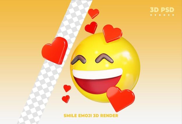 Uśmiecha się bardzo szczęśliwy emoji z miłością 3d render ikona odznaka na białym tle