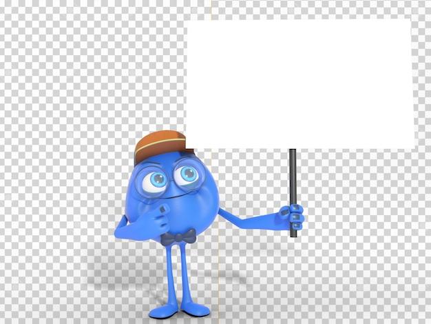 Uśmiechnięta 3d charakteru maskotka trzyma białego sztandar z przejrzystym tłem