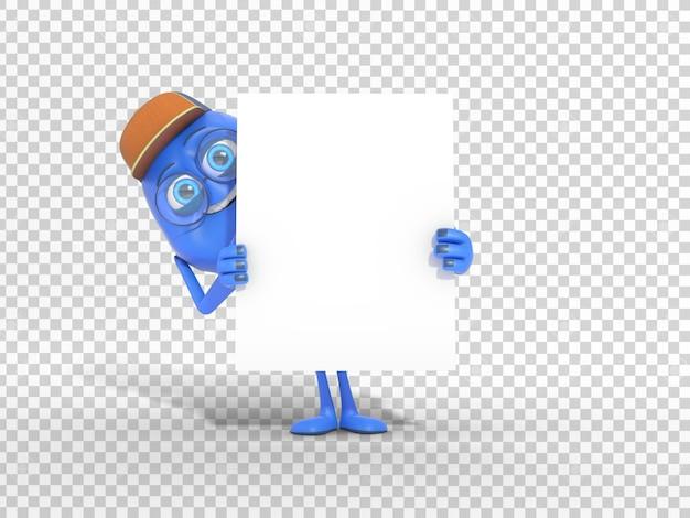 Uśmiechnięta śliczna 3d charakteru maskotka trzyma pustego białego plakat z przejrzystym tłem