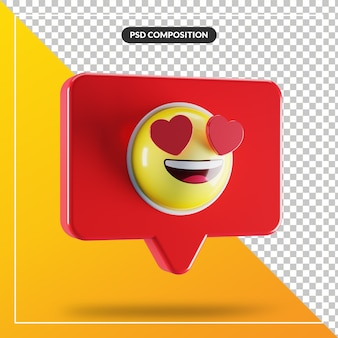 Uśmiechnięta twarz z symbolem emoji oczu serca w dymku
