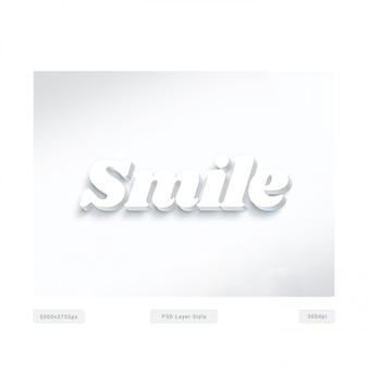Uśmiechnij się efekt stylu tekstu 3d biały