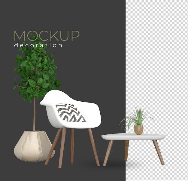 Ustaw fotel w renderowaniu projektu makiety wnętrza