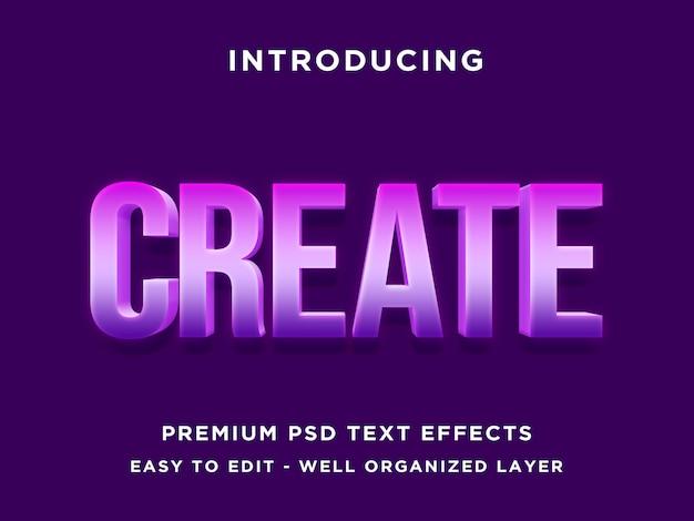 Utwórz - 3d purple text effect psd
