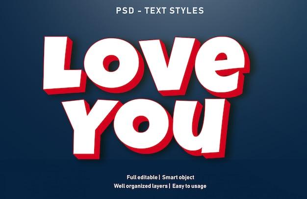 Uwielbiam efekty tekstowe w stylu edytowalnym psd