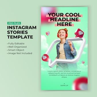 Uwielbiam jak czysty nowoczesny kolorowy szablon historii na instagramie