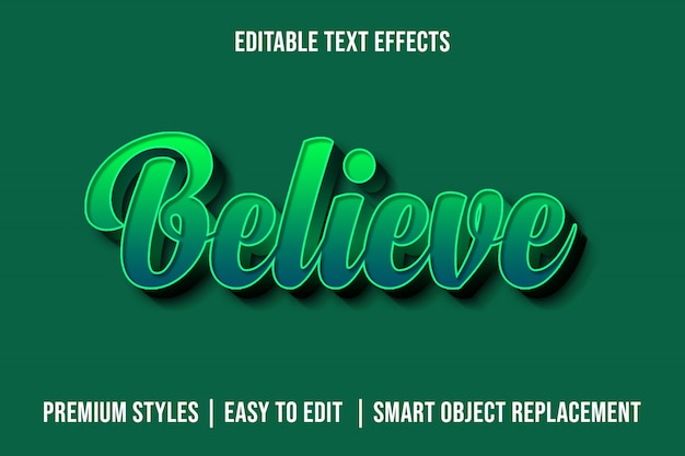 Uwierz - makieta 3d zielonych efektów tekstowych premium
