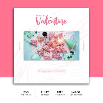 Valentine banner media społecznościowe post instagram food pink