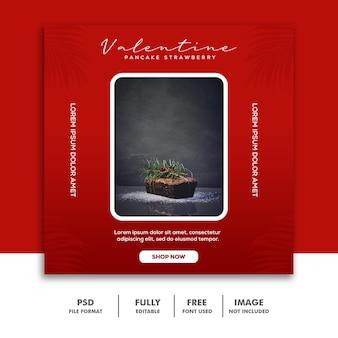 Valentine banner social media post instagram cake red