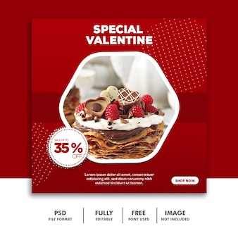 Valentine banner social media post instagram, food red cake special