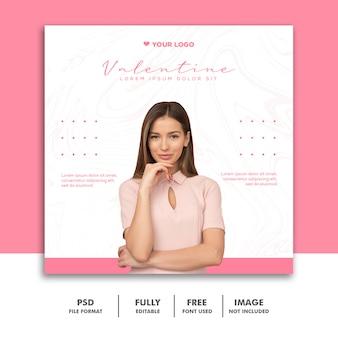 Valentine banner social media post instagram kobieta moda