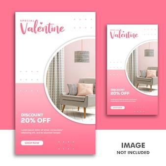 Valentine banner social media post instagram meble różowa zniżka