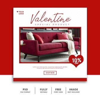 Valentine banner social media post instagram sprzedaż mebli