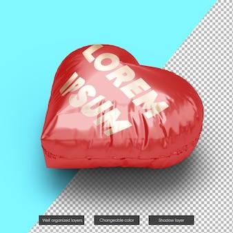 Valentine heart balloon mockup design w renderowaniu 3d