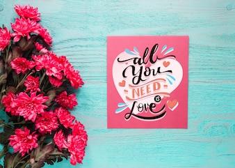 Valentine karty makieta z kwiatami