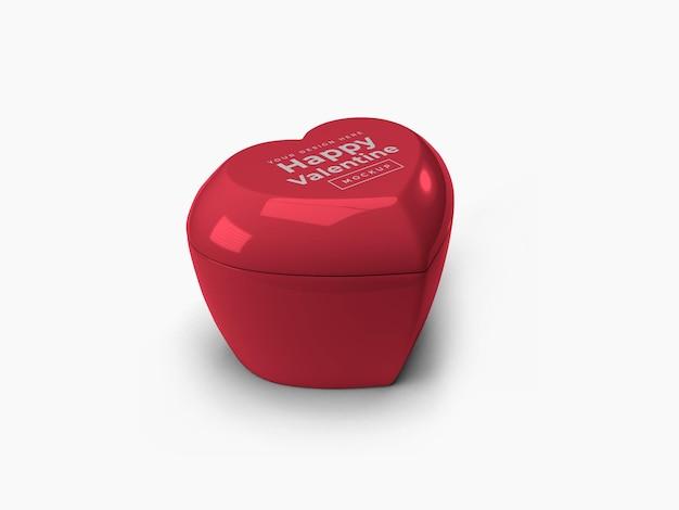 Valentine love heart pojemnik z pokrywką makieta projekt na białym tle