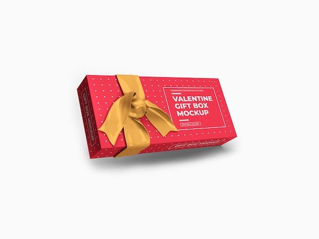Valentine prezent pudełko makieta projekt na białym tle