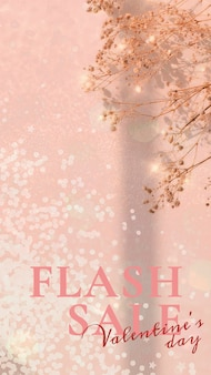 Valentine's flash sale szablon psd edytowalna historia w mediach społecznościowych