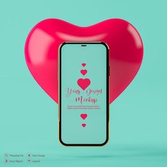 Valentine serce i mobilna makieta na białym tle