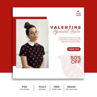 Valentine specjalna sprzedaż post dla mediów społecznościowych