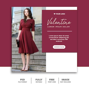 Valentine sprzedaż post dla mediów społecznościowych