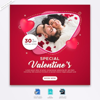 Valentine szablon transparent postu w mediach społecznościowych