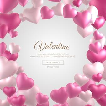 Valentine transparent rama różowe serca
