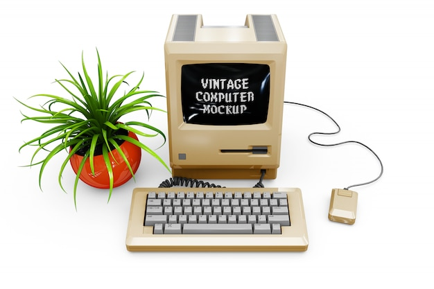 Vintage computer mock-up isolated