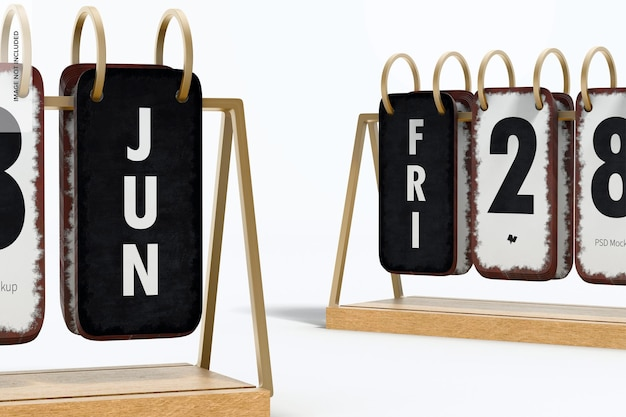 Vintage kalendarze na biurko makieta, zbliżenie
