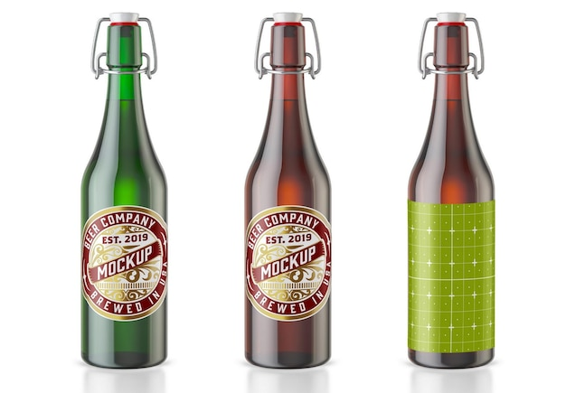 Vintage kolorowe szklane butelki piwa makieta