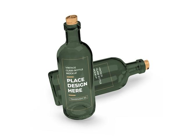 Vintage szklana butelka 3d makieta na białym tle