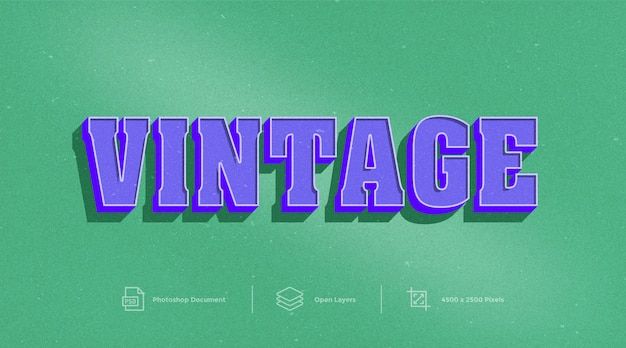 Vintage text effect design photoshop layer style effect