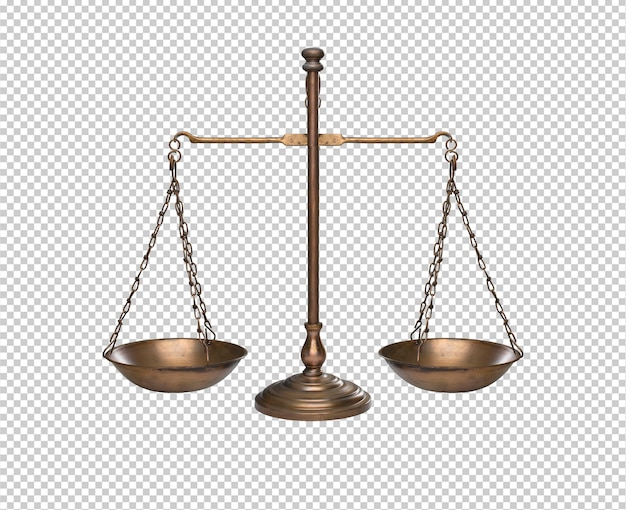 Vintage złoty balans lub skali wyizolowanych na białym tle