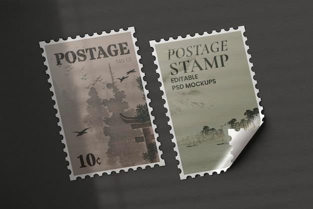 Vintage znaczki pocztowe psd makieta