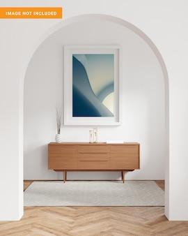 W skandynawskim tle wnętrza w renderingu 3d