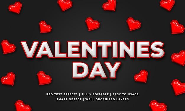 Walentynki 3d makieta styl tekstu efekt