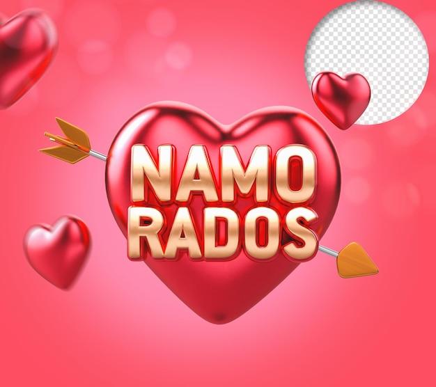 Walentynki 3d tekst z sercem i strzałą