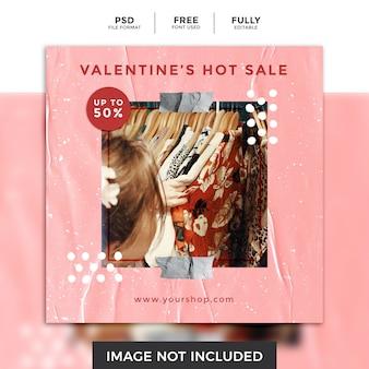 Walentynki gorąca sprzedaż mediów społecznościowych szablon postu