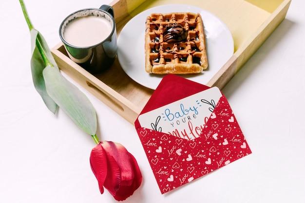 Walentynki karty makieta ze śniadaniem