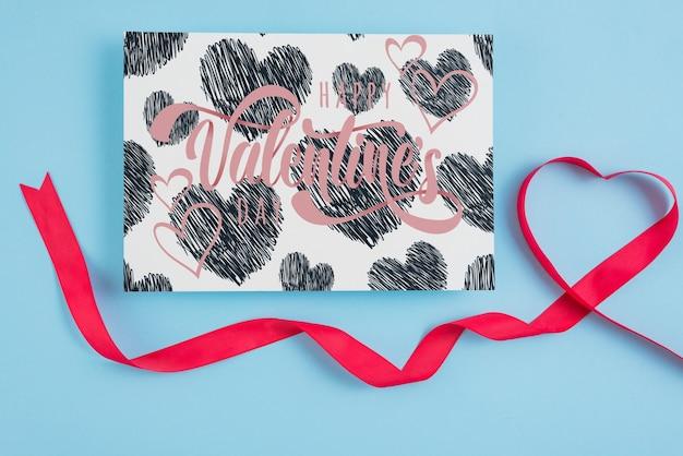 Walentynki karty makieta ze wstążką