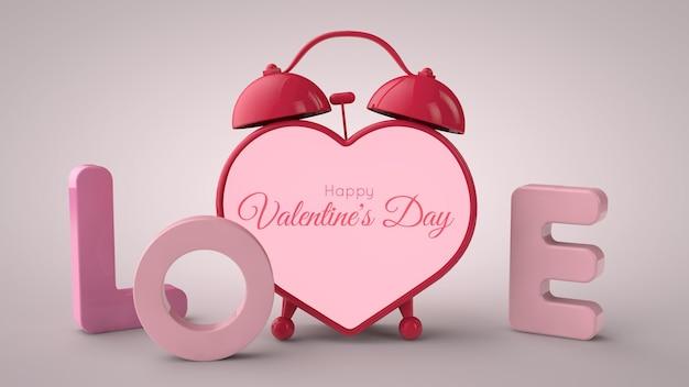 Walentynki . napis miłość i budzik w kształcie serca. miejsce na tekst. ilustracja 3d