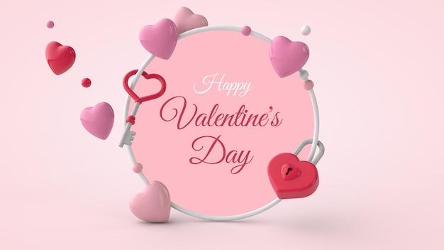 Walentynki pocztówka makieta z prezentem w ilustracji 3d