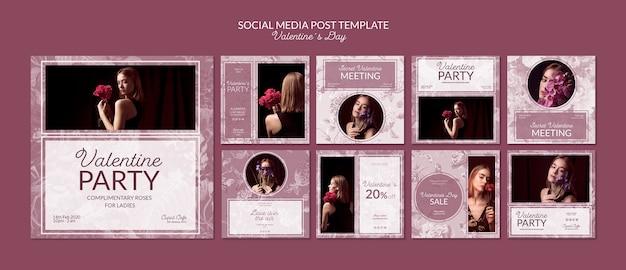 Walentynki post mediów społecznościowych szablon