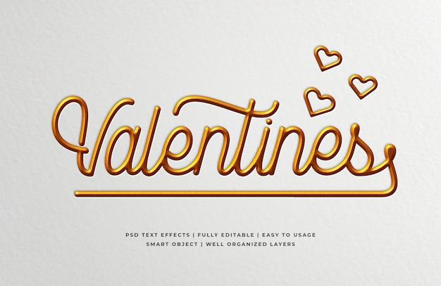 Walentynki wciśnięty efekt stylu tekstu 3d