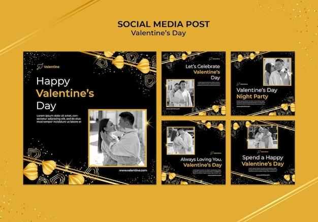 Walentynkowe posty na instagramie ze złotymi detalami