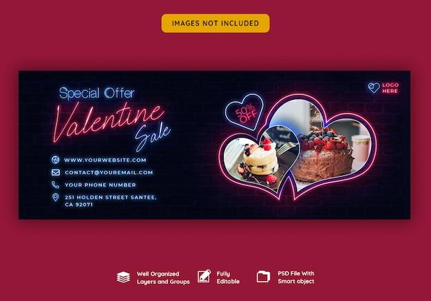 Walentynkowy sztandar na okładce na facebooku