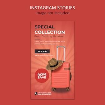 Walizka szablon historii mediów społecznościowych na instagramie