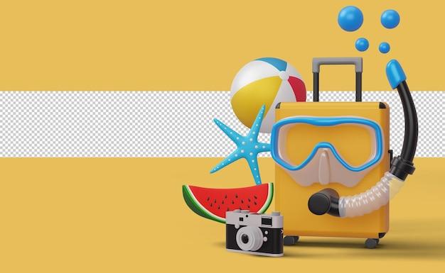 Walizka w masce do nurkowania ze sprzętem plażowym, sezon letni, letnie renderowanie 3d