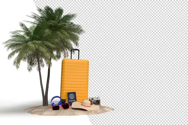 Walizka z akcesoriami podróżniczymi, niezbędnymi przedmiotami na wakacje. wyjazd wakacyjny przygodowo-podróżowy. podróżowanie koncepcja projekt transparent szablon makieta. renderowanie 3d