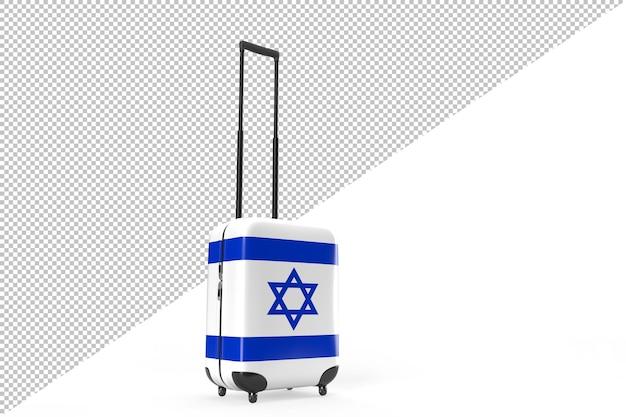 Walizka z flagą izraela jako koncepcja podróży