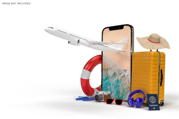 Walizka z samolotem, renderowanie akcesoriów podróżnych